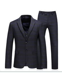 2019 männer elegante weste 2019 neuer schwarzer Smoking Anzüge für Männer, Größe 48-56 Art und Weise nimmt passende elegantes Männer gestreiftes Jackett mit Weste und Hose günstig männer elegante weste