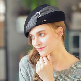 83802459a1a813 Elegant Female 100% Wool British Plaid Black Fedora Hat England Style  Vintage Winter Women Felt French Beret Hats Bone Feminino