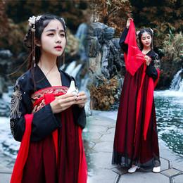 chinese trajes tradicionais mulheres Desconto 2019 Nova Hanfu Stage Roupas de Dança Tradicional Chinês Traje Bordado Mulheres Hanfu Vestidos de Dança Chinesa Trajes DWY1903