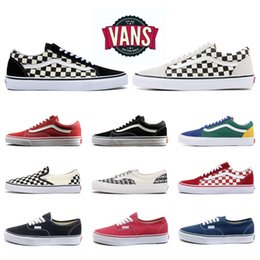 Original Van old skool white yacht club FEAR OF GOD Slip On Checkerboard Red canvas mens sport sneakers EUR casual shoes