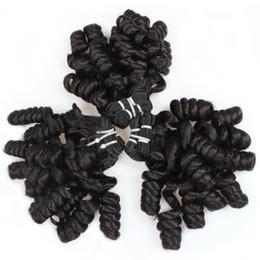 boucles en spirale cheveux noirs Promotion Nature Noir Funmi Bouclés Cheveux Faisceaux Noir Ombre Bouncy Spirale Boucles Tissage de Cheveux Humains Trames Extensions 3 Pcs Lot J57