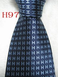 Gravata de seda azul escuro on-line-Venda quente Clássica 100% JACQUARD TECIDO FEITO À MÃO Mens Design Perfeito Dark biue / cor Azul Homens gravata de seda Gravata H97