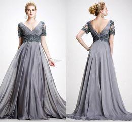 2019 Elie Saab mãe dos vestidos de noiva formal vestido V pescoço apliques Chiffon até o chão Plus Size Backless cinza vestido de casamento convidado de