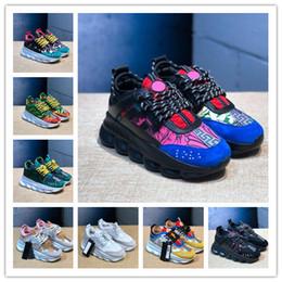Argentina Caliente Nueva Reacción en Cadena Hombres Mujeres Zapatos de Diseño Manchado Multi Color Caucho Suede Moda Zapatillas de deporte Zapatillas de deporte Zapatos casualesVersace 5-11 cheap multi color chain Suministro