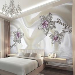 2019 luxus wandmalerei Moderne Abstrakte Perlenschmuck Silk Murals Tapeten Hotel Esszimmer Wohnzimmer Dekoration 3D Geprägte Luxus Tapete rabatt luxus wandmalerei