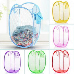 hamper clothes basket Promo Codes - Foldable Mesh Laundry Basket Pop Up Dirty Clothes Washing Laundry Baskets Bin Hamper Storage Bag Organizer Home Storage Supplies DBC DH1234