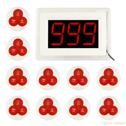Système de bouton d'appel sans fil en Ligne-Système d'appel de restaurant sans fil 1 hôte récepteur + 10pcs bouton d'appel émetteur pager pour KTV Bar