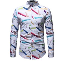 Canada Plus la taille des hommes occasionnels chemise couleur encre splash peinture couleur slim chemises loisirs 6 personnalité couleur manches longues chemise Offre
