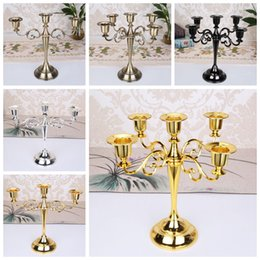 2019 pilares de cristal Castiçal de coluna de Metal titulares 3 5 Braços Castiçal Stand Mariage Candelabra 4 Cores Decoração Do Casamento 22 pcs OOA6393