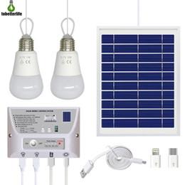 Cargador de teléfono con carga solar online-Generador solar sistema de energía solar Inicio 5000mAh Banco de la energía del cargador del teléfono de emergencia campo de carga sistema de iluminación LED para acampar al aire libre