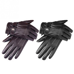 177891628b2f1 Trendy Touch Screen PU Leather Unisex Gloves Winter Warm Gloves for Driving  Cycling