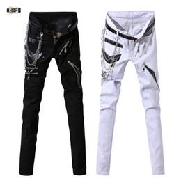 calças de couro de desempenho masculino Desconto Idopy Homens Hip Hop Jeans Com Cadeia Patchwork Do Punk Gótico Palco Do Partido Multi Zíperes Calças De Desempenho De Couro Para O Homem