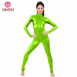 Tuta Clubwear Stagewear Purim Party Pole Costume da ballo Lemon Green Sexy collo alto Donna Zip Body in vernice da