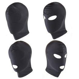 Capa de rosto aberta on-line-Spandex Padded Blindfold Rosto Eye Mask Boca Aberta capa Chefe Balaclava Abertura