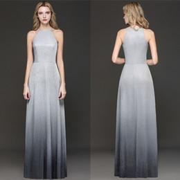 2019 più il vestito di ombre di formato Popolare Silver Grey Ombre riflettente per la sera Prom Formal Wears 2019 A Line Halter Neck Vestidos CPS1245 più il vestito di ombre di formato economici