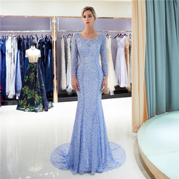 64a52238 knit prom dress long Coupons - Red Carpet Evening Dresses Blue Round  Necklace Rhinestone Sequins Back