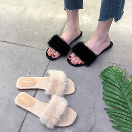 2019 zoccoli piattaforme Summer Ladies Flat Slippers Zeppe Platform New 2019 Sandali con tacco a zeppa Low Slides Sandalo in pelle peluche Water Female Med sconti zoccoli piattaforme