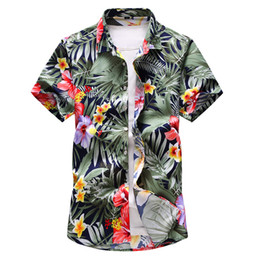 button down mens shirt Coupons - Shirt Men 2019 Summer New Short Sleeve Hawaiian Shirt Mens Casual Button Down Dress Shirts for Holiday Chemise 7XL