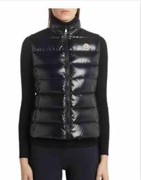 Chaquetas de plumas moradas online-2019 moda nuevo invierno abajo chaleco para mujer abrigo delgado diseño chalecos mujer marca chaqueta sin mangas mujer negro púrpura rojo marrón barato venta