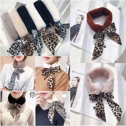 Fashion Leopard Women Faux Fur Scarves Plush Collar Wrap Bow Tie Neck  Warmer Winter Ladies Formal Party Scarves New Wholesale effa416b1510