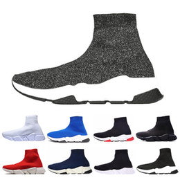 flat shoes socks Promo Codes - Designer Casual Speed Sneakers For Men Women Trainer fashion Socks Shoes Gray Triple Black White Red Blue Flat mens Outdoor Trainers