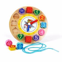 Wholesale WoOden Building Block Lacing Beads Puzzles Cute Zebra Animal Cartoon juguetes educativos para niños Digital Reloj de madera