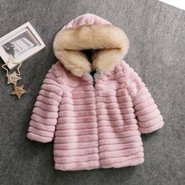 US $49.99  Winter Baby Girl Fur Coat Long Jacket Hooded Parka Girls Children Faux Rabbit Fur Coats Kids Windbreaker Plus Size Big Ear Jackets & Coats 