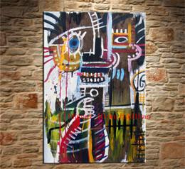 Olio di ritratto moderno online-Ritratto di Basquiat, Tela Pittura Soggiorno Decorazioni per la casa Moderna Pittura a olio di arte murale