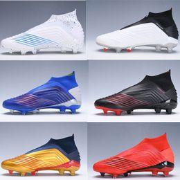 Niños de fútbol tops altos online-Adidas Laceless Predator 19 + FG x Pogba Virtuso Zapatillas de fútbol para niños Archetic High Top Chuteiras de futebol Niños Chicos jóvenes Botas de fútbol Botas