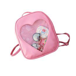 294b40dcf127 transparent bag Summer Candy Transparent Love Heart Shape Backpacks School Girls  Bag pink backpack mochilas
