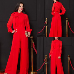 49029d3259c1 Red Two Pieces Evening Dresses Suits High Neck Long Sleeves Chiffon Pants  Prom Gowns Custom Made Jumpsuits Special Occasion Dress