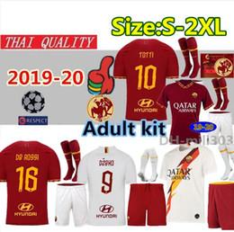2019 camisa totti 2019 2020 AS roma equipos de camisetas de fútbol de casa 19 20 DZEKO TOTTI roma Camisetas camiseta de fútbol Kit De Rossi Uniformes de despedida S-2XL camisa totti baratos
