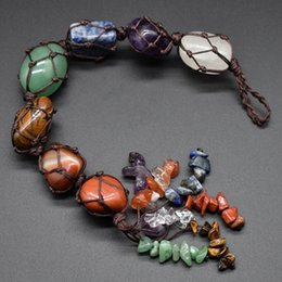 piedras preciosas de feng shui Rebajas Chakra Tumbled piedra preciosa de la borla de la meditación espiritual Ornamentos colgantes colgantes Ventana Feng Shui Natural Piedras de coches