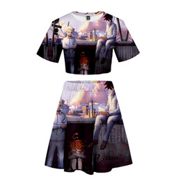Ropa de calle online-FADUN The Promised Neverland 3D Kawaii ropa impresa dos piezas establece mujeres sexy vestido de verano venta informal Stes