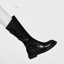 Botas viejas de cuero online-Black Old Cow Nubuck Lether Womens Slim Boots Otoño Invierno Cuero genuino tobillo Martin Boots