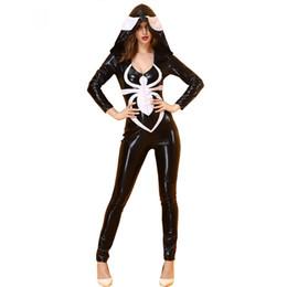 Filles robes de fantaisie noir blanc en Ligne-Nouveau adulte Anime Spiderman Cosplay Costumes Noir et Blanc Spiderwoman Combinaison Spider Girl Halloween Party Fantaisie Robe
