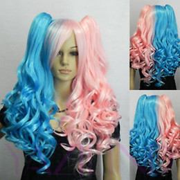 peru hair Promo Codes - Wavy Curly no Lace Front Black Bride Plait Blue Pink Mix Lolita Full Bangs Long Wavy Fibre Hair Cosplay Anime Wig Heat resistant ladies peru
