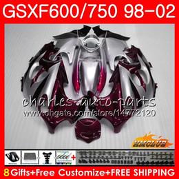 zx14 carenados rojos Rebajas Cuerpo para SUZUKI KATANA GSXF 750 600 GSXF600 98 99 00 01 02 2HC.0 GSX750F GSX600F GSXF750 1998 1999 2000 2001 2002 Kit de carenado Nuevo rojo vino