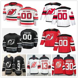 Custom New Jersey Devils 30 Martin Brodeur 9 Taylor Hall 13 Nico Hischier 21 Kyle Palmieri 44 Miles Wood Мужчины Женщины Дети Молодежные хоккейные майки от