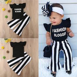 conjuntos de fraldas de fraldas de crochê Desconto Crianças do bebê meninas roupas de Verão Meninas T-shirt + Calças 2 Peça Define crianças roupas de grife Ruffle carta T-Shirt Calças listradas JY119