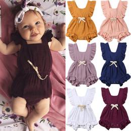 6 colori Cute Baby Girl Ruffle tinta unita pagliaccetto tuta Outfit Sunsuit per neonati neonati Abbigliamento per bambini cheap ruffled baby girl clothes da vestiti increspati della neonata fornitori