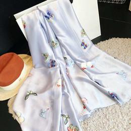 xales impressão borboleta Desconto Designer original marca de moda de luxo cachecol primavera / verão novo gelo lenço de seda protetor solar toalha de praia toalha de praia xale de impressão 180 * 90 cm oi