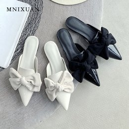 new handmade lace Promo Codes - MNIXUAN Handmade mules shoe women flats slippers 2019 summer new covered pointed toe solid butterfly-knot slides big size 34-43