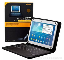 "estuche antichoque ipad air Rebajas Bluetooth 3.0 Teclado PU Stand de cuero Fundas inteligentes para 7 ""8"" pulgadas Tablet PC universal A33 Q88 iPad mini Samsung Galaxy Tab"
