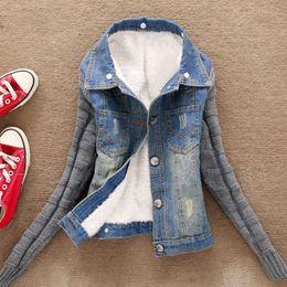 Вязаная куртка джинсовая куртка онлайн-Джинсовые Карманы пальто куртка женщин плюс размер XXXXXL зима теплая Толстые джинсы пуговица Knit Sleeve Cowboy PSEPT7