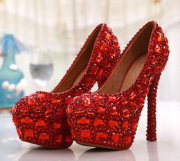 robe de mariée rouge Promotion Luxe Chaussures À Talons Hauts En Cristal Rouge De Mariée Robe De Mariée Chaussures De Soirée De Soirée Chaussures Chaussures Formelles