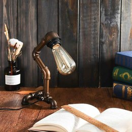 lâmpadas de mesa industriais vintage Desconto Tubulação de Água Industrial Candeeiro de Mesa de Luz Do Vintage Steampunk Mesa Lâmpada Da Mesa Lanterna Decoração de Casa Interior Luminária de Iluminação