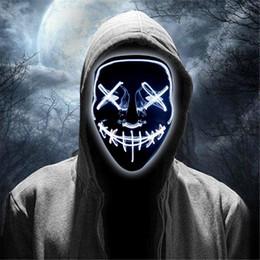 Rave maschere online-Le maschere spaventoso Halloween LED Glow Spaventoso Mask Light Up Cosplay Rave per il festival del partito feste in costume luce fredda JK1909
