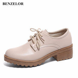 0243392e8e2a BENZELOR 2018 Classic Oxford Casual Shoes Woman Pumps Women Heels Low Dress  Party Office Korean Ladies Femme Platform Middle