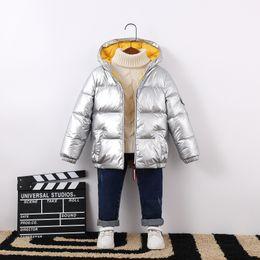 Giacche satinate online-Inverno caldo il neonato Snowsuit cappotto incappucciato raso bambini anatra Piumino corto impermeabile Zipper bambini abbigliamento outdoor